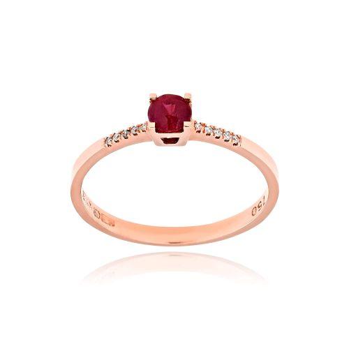 Μονόπετρο Δαχτυλίδι από Ροζ Χρυσό Κ18 με Διαμάντια και Ρουμπίνι 037810