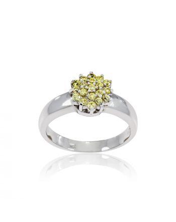 Δαχτυλίδι απο Λευκό Χρυσό Κ14 με Ζιργκόν 000465