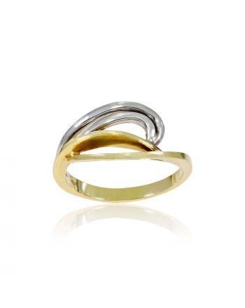 Δαχτυλίδι απο Λευκό και Κίτρινο Χρυσό Κ14 000496