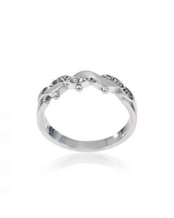 Δαχτυλίδι από Λευκό Χρυσό 14 Καρατίων Κ14 με Πέτρες Ζιργκόν 000517
