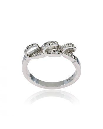 Δαχτυλίδι από Λευκό Χρυσό 14 Καράτια Κ14 με Πέτρες Ζιργκόν 000535