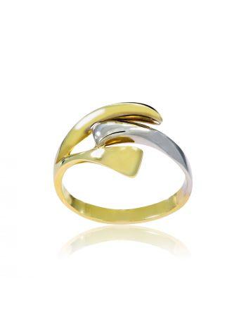 Δαχτυλίδι από Κίτρινο και Λευκό Χρυσό 14 Καράτια Κ14με Πέτρες Ζιργκόν 000654
