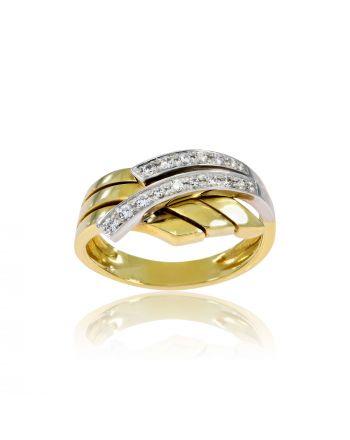 Δαχτυλίδι από Λευκό & Κίτρινο Χρυσό Κ14 με Πέτρες Ζιργκόν 000682