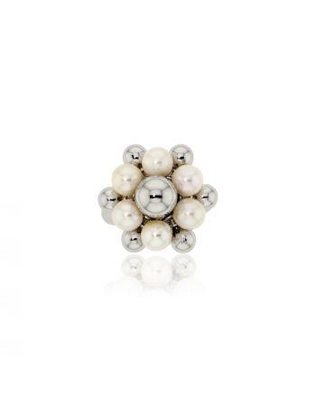 Δαχτυλίδι Λευκό Χρυσό 18 Καρατίων Κ18 με Μαργαριτάρια 000779
