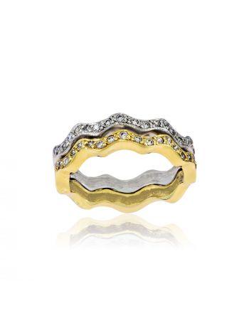 Δαχτυλίδι Διπλό Λευκό και Κίτρινο Χρυσό Κ14 με Πέτρες Ζιργκόν 000798