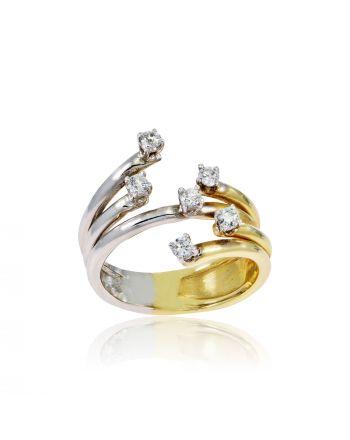 Δαχτυλίδι Γυναικείο Κίτρινο και Λευκό Χρυσό Κ14 με Πέτρες Ζιργκόν 000799