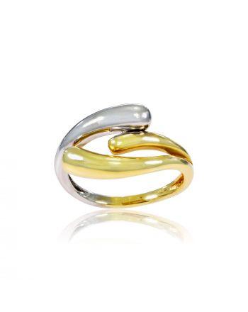 Δαχτυλίδι απο Λευκό & Κίτρινο Χρυσό Κ14 000896
