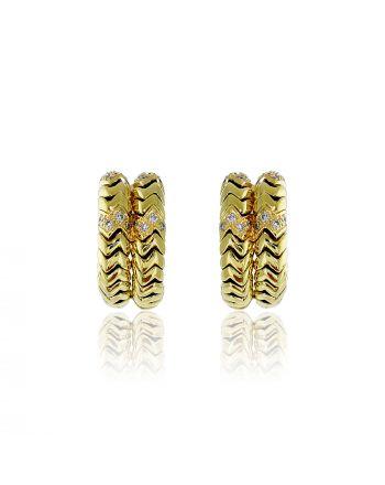 Σκουλαρίκια Κίτρινο Χρυσό Κ18 με Διαμάντια Μπριγιάν 001878
