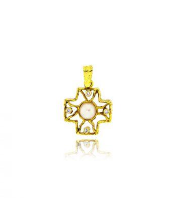 Χειροποίητος Σταυρός από Κίτρινο Χρυσό με Διαμάντια Μπριγιάν 002579
