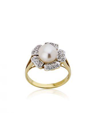 Δαχτυλίδι Λουλούδι Κίτρινο Λευκό Χρυσό Κ14 με Πέτρες Ζιργκόν και Μαργαριτάρι 002994
