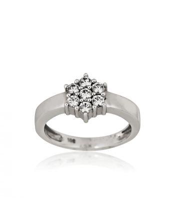 Δαχτυλίδι Ροζέτα FaCad΄oro από Λευκό Χρυσό 14 Καρατίων Κ14 με Πέτρες Ζιργκόν 45