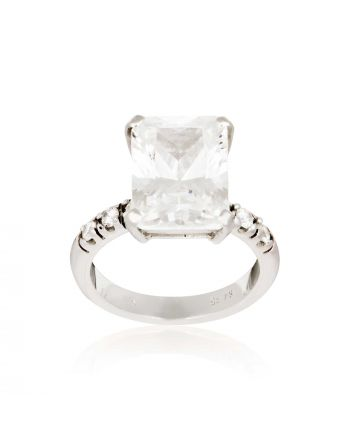 Δαχτυλίδι Λευκό Χρυσό 14 Καρατίων Κ14 με Ζιργκόν 003170
