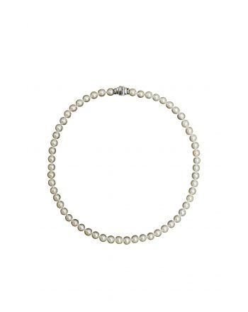 Κολιέ από Λευκό Χρυσό Κ18 με Acoya Pearl 003219