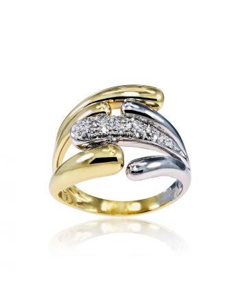 Δαχτυλίδι από Κίτρινο και Λευκό Χρυσό 14 Καράτια Κ14 με Πέτρες Ζιργκόν 003368
