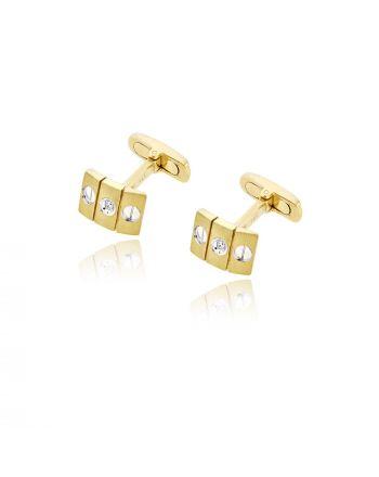 Μανικετόκουμπα από Κίτρινο & Λευκό Χρυσό Κ14 με Πέτρες Ζιργκόν 004053