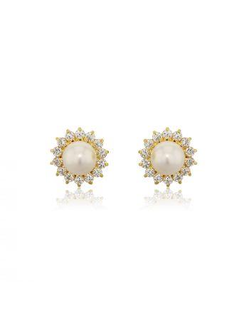 Σκουλαρίκια Ροζέτες Κίτρινο Χρυσό Κ18 με Πέτρες Ζιργκόν και Μαργαριτάρια 004184