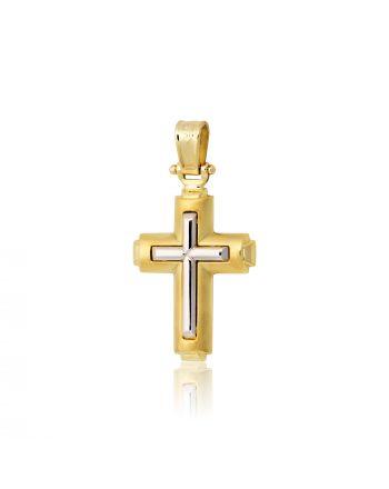 Σταυρός Βάπτισης για Αγόρι Σκέτος Κίτρινο και Λευκό Χρυσό 14 Καρατίων 004536