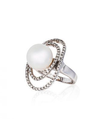 Δαχτυλίδι Λευκό Χρυσό 18 Καρατίων Κ18 με Διαμάντια και Μαργαριτάρι 007084