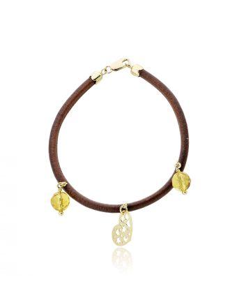 Βραχιόλι από Δέρμα με Στοιχεία από Κίτρινο Χρυσό 14 Καρατίων και Ζιργκόν 007222