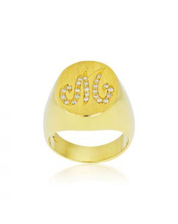 Δαχτυλίδι Σεβαλιέ Κίτρινο Χρυσό 18 Καρατίων Κ18 με Διαμάντια Μπριγιάν 007275