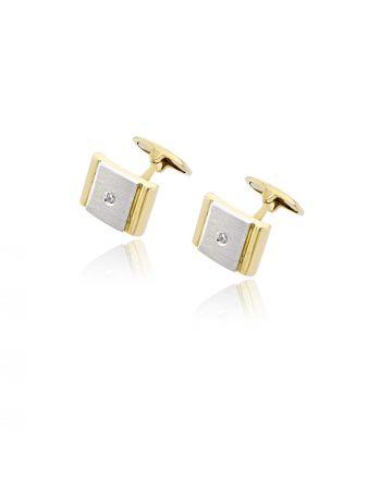 Μανικετόκουμπα από Λευκό & Κίτρινο Χρυσό Κ14 με Πέτρες Ζιργκόν 007335
