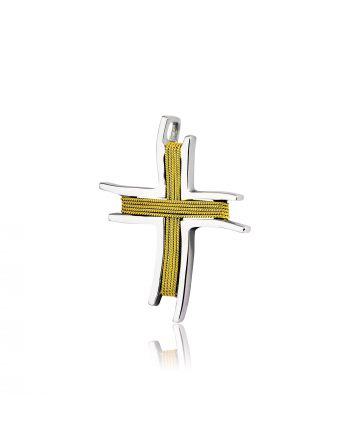 Σταυρός Κίτρινο και Λευκό Χρυσό 18 Καρατίων Κ18 007455