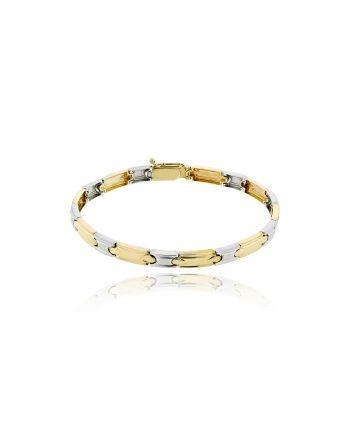 Βραχιόλι από Λευκό και Κίτρινο Χρυσό 14 Καρατίων 008064