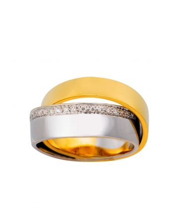 Διπλό Δαχτυλίδι από Κίτρινο και Λευκό Χρυσό 18 Καρατίων με Διαμάντια Μπριγιάν 008200
