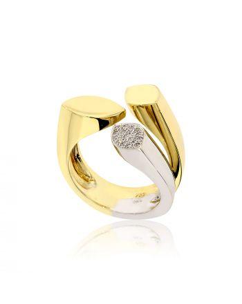 Δαχτυλίδι από Λευκό και Κίτρινο Χρυσό 18 Καρατίων με Διαμάντια Μπριγιάν 008208