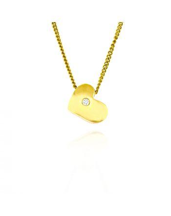 Κολιέ Μενταγιόν με Αλυσίδα Καρδιά Κίτρινο Χρυσό Κ18 με Διαμάντι Μπριγιάν 008474