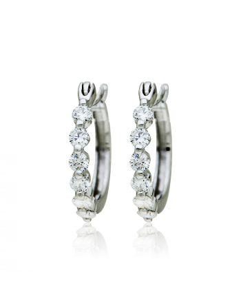 Σκουλαρίκια Κρικάκια Λευκό Χρυσό 18 Καρατίων Κ18 με Διαμάντια Μπριγιάν 009271
