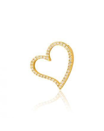 Μενταγιόν Καρδιά Κίτρινο Χρυσό 18 Καρατίων Κ18 με Διαμάντια 010562