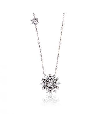 Μενταγιόν Ροζέτα με Αλυσίδα από Λευκό Χρυσό 18 Καρατίων με Διαμάντια 010637