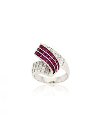 Δαχτυλίδι Λευκό Χρυσό 18 Καρατίων Κ18 με Διαμάντια και Ρουμπίνια 010644