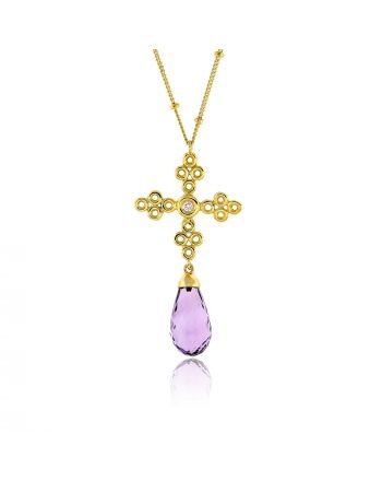 Γυναικείος Σταυρός με Αλυσίδα από Κίτρινο Χρυσό Κ18 με Διαμάντι 010852