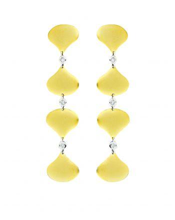 Σκουλαρίκια από Κίτρινο Χρυσό Κ18 με Διαμάντια 011154