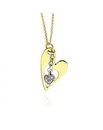Μενταγιόν Καρδιά με Αλυσίδα από Κίτρινο και Λευκό Χρυσό Κ14 με Πέτρες Ζιργκόν 011836