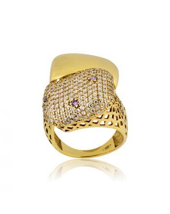 Δαχτυλίδι από Κίτρινο Χρυσό 14 Καρατίων με Πέτρες Ζιργκόν 012065