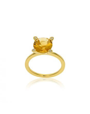 Δαχτυλίδι από Κίτρινο Χρυσό Κ18 με Σιτρίν και Διαμάντια Μπριγιάν 012129