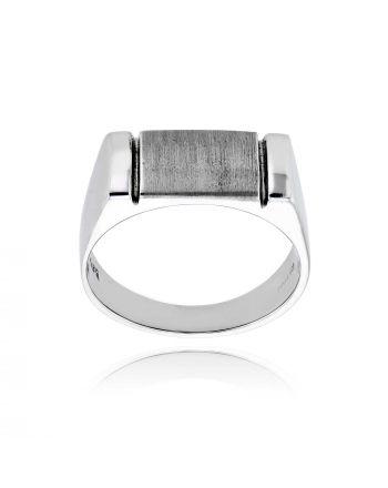Ανδρικό Δαχτυλίδι Λευκό Χρυσό 14 Καρατίων 012282