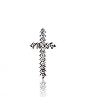 Σταυρός Γυναικείος Λευκό Χρυσό 14 Καρατίων Κ14 με Πέτρες Ζιργκόν 012867