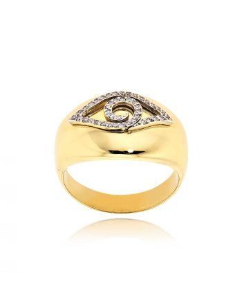 Δαχτυλίδι με Μάτι Κίτρινο και Λευκό Χρυσό Κ18 με Διαμάντια Μπριγιάν 012900