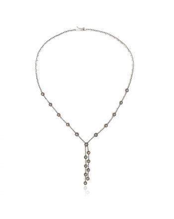 Κολιέ Λευκό Χρυσό Κ14 με Πέτρες Ζιργκόν 014171