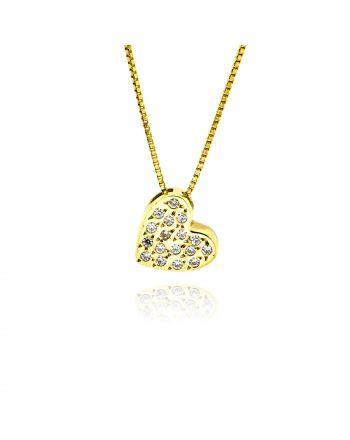 Μενταγιόν Καρδιά με Αλυσίδα από Κϊτρινο Χρυσό Κ14 με Πέτρες Ζιργκόν 014363
