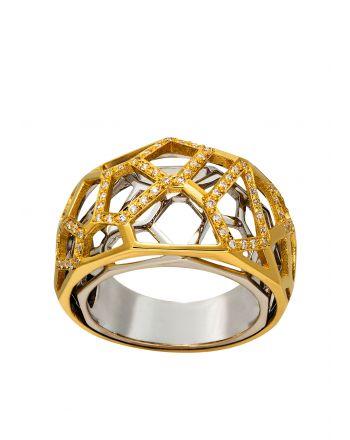 Δαχτυλίδι από Κίτρινο και Λευκό Χρυσό 18 Καρατίων με Διαμάντια Μπριγιάν 014407