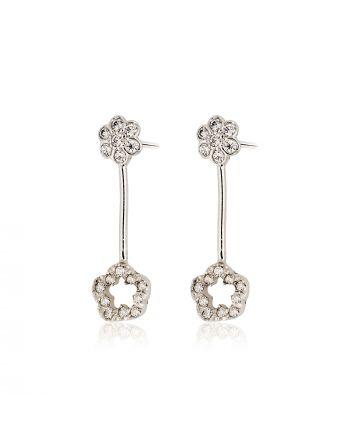 Σκουλαρίκια από Λευκό Χρυσό Κ14 με Πέτρες Ζιργκόν 014534