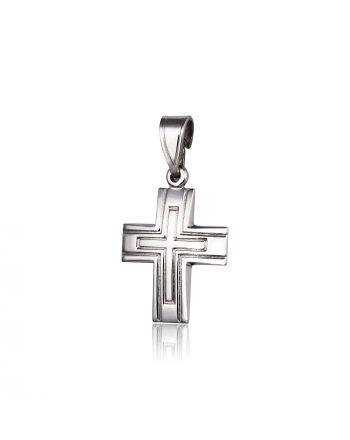 Σταυρός Βάπτισης για Αγόρι Σκέτος Λευκό Χρυσό 14 Καρατίων Κ14 015428