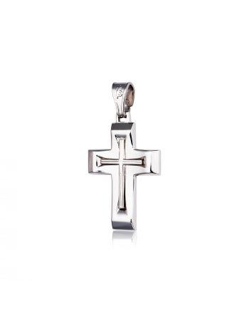 Σταυρός Βάπτισης για Αγόρι Σκέτος Λευκό Χρυσό 14 Καρατίων Κ14 015430
