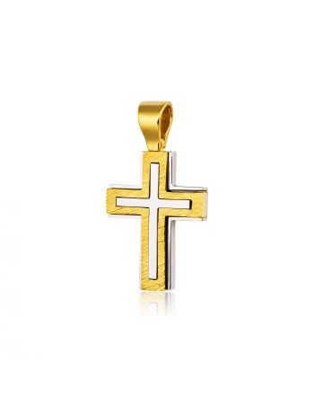 Σταυρός Βάπτισης για Αγόρι Σκέτος Κίτρινο και Λευκό Χρυσό Κ18 015665