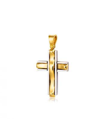 Σταυρός Βάπτισης για Αγόρι Σκέτος Κίτρινο και Λευκό Χρυσό Κ18 015680